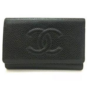 Chanel CC Logo Caviar Leather 6 Ring Key Case EUC